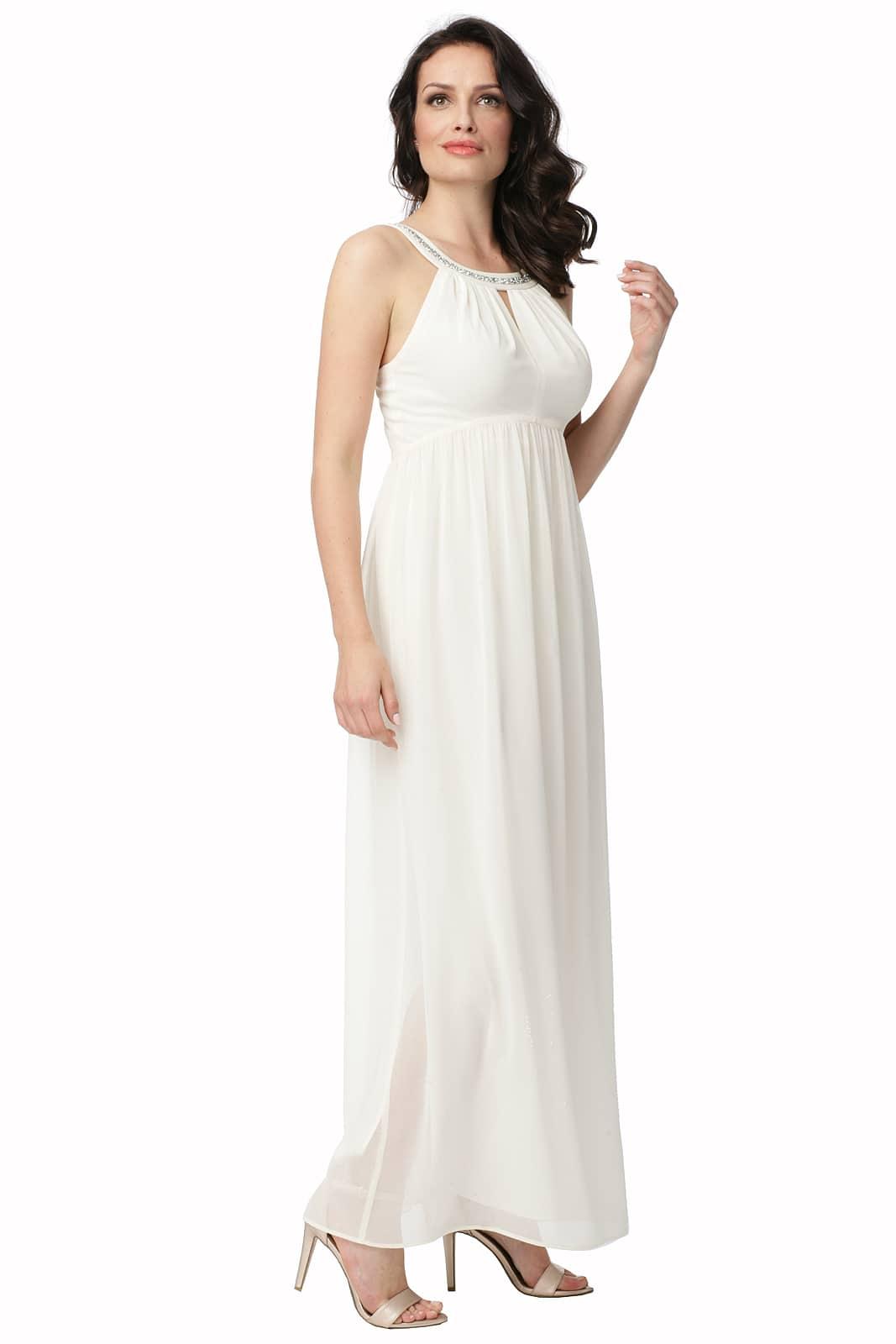 d3b273de97 Długa sukienka kremowa z ozdobną taśmą Lukrecja - Modesta - ponad 30 ...