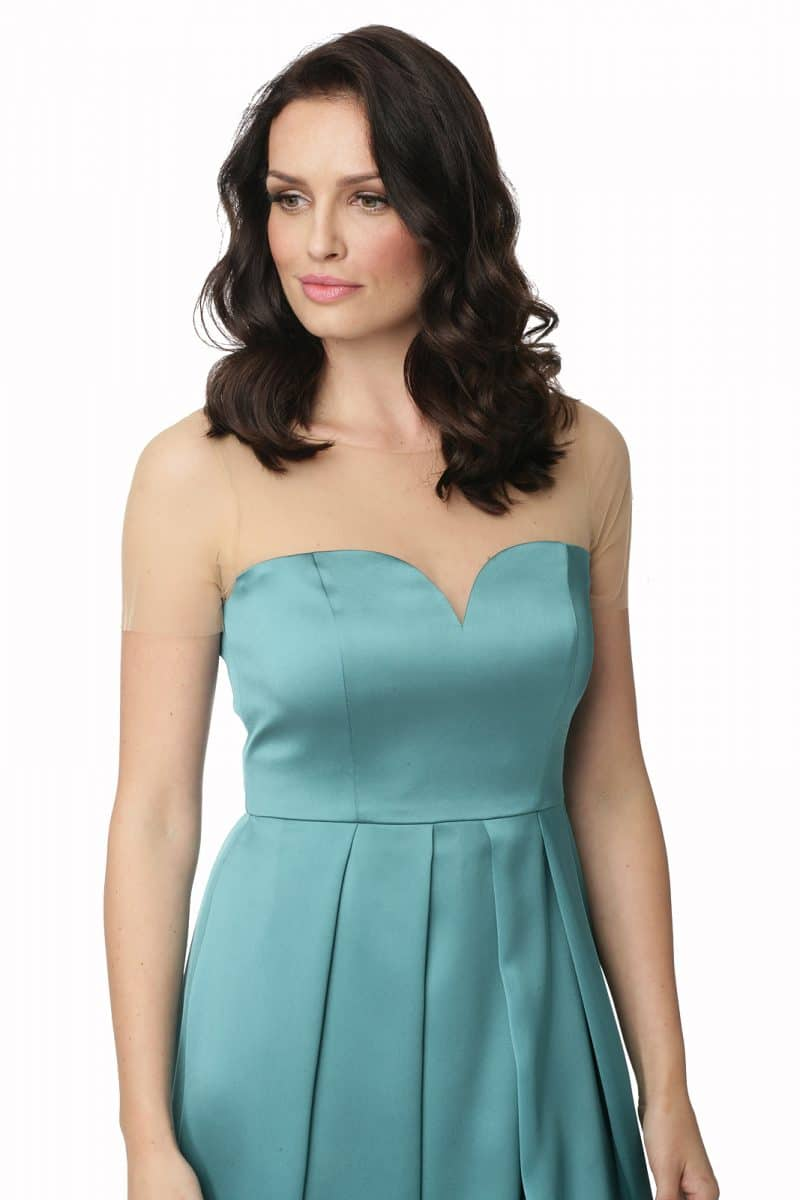 Zielona sukienka łączona z cielistym tiulem Cecylia