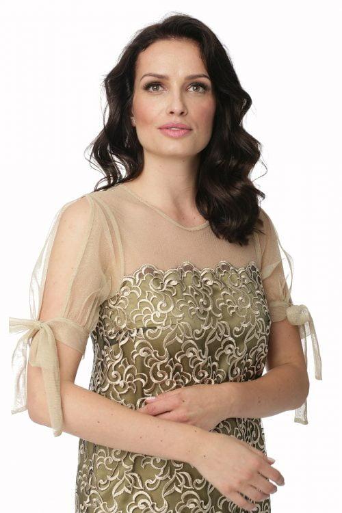 Sukienka ze złotej koronki z tiulem Wiktoria