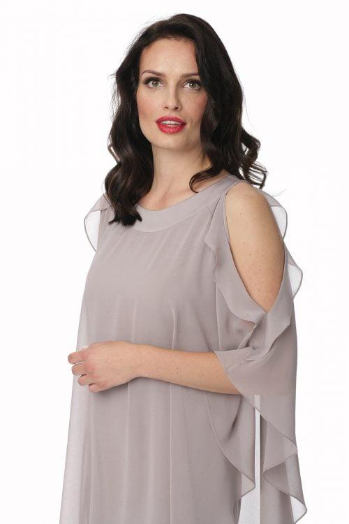 Dwuwarstwowa sukienka w kamiennym kolorze Marietta