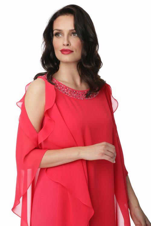 Dwuwarstwowa sukienka z aplikacją Marietta