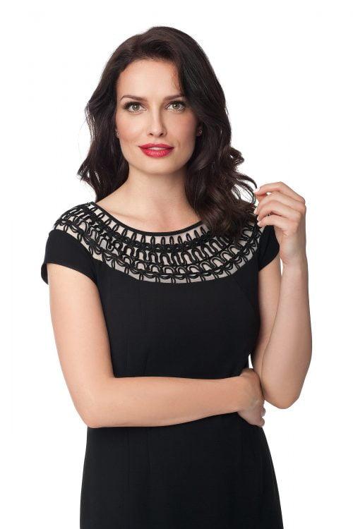 Czarna sukienka z haftem Kleopatra