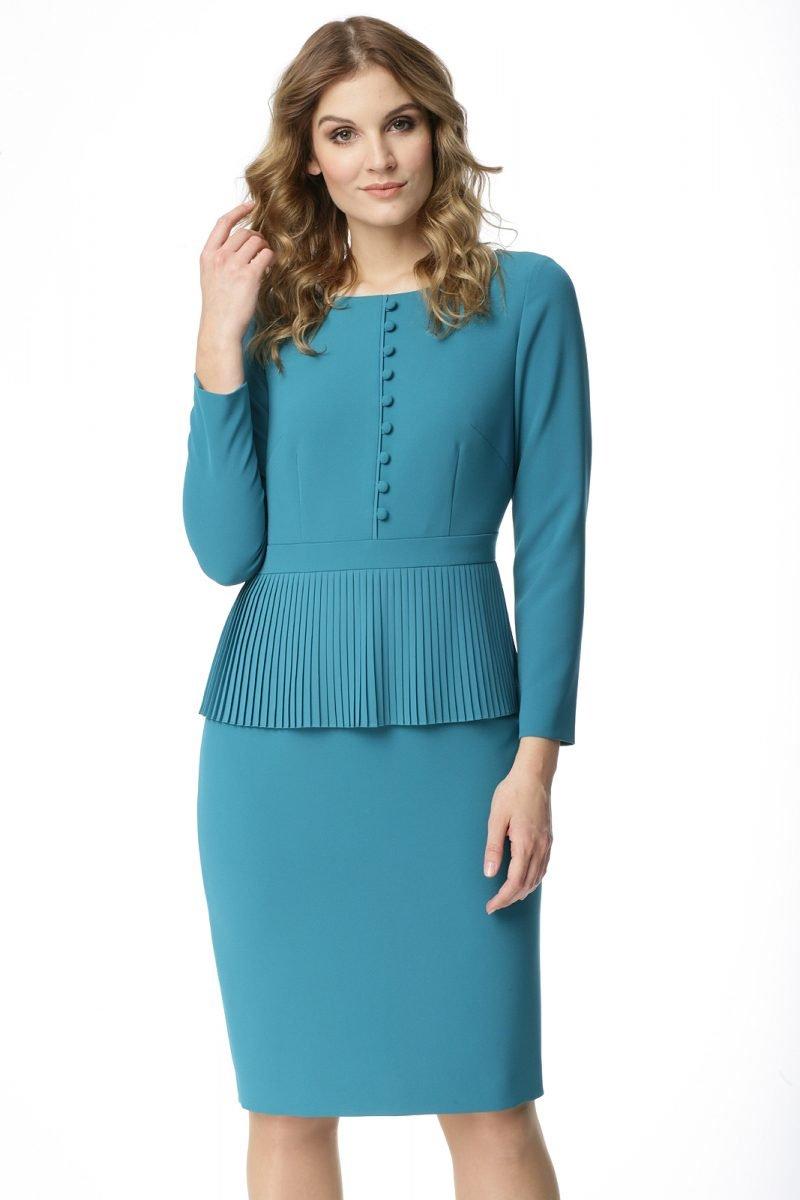 Sukienka z plisowaniem w kolorze turkusowym Teresa