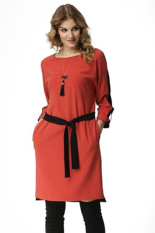 Dwukolorowa sukienka kimonowa z paskiem Michalina