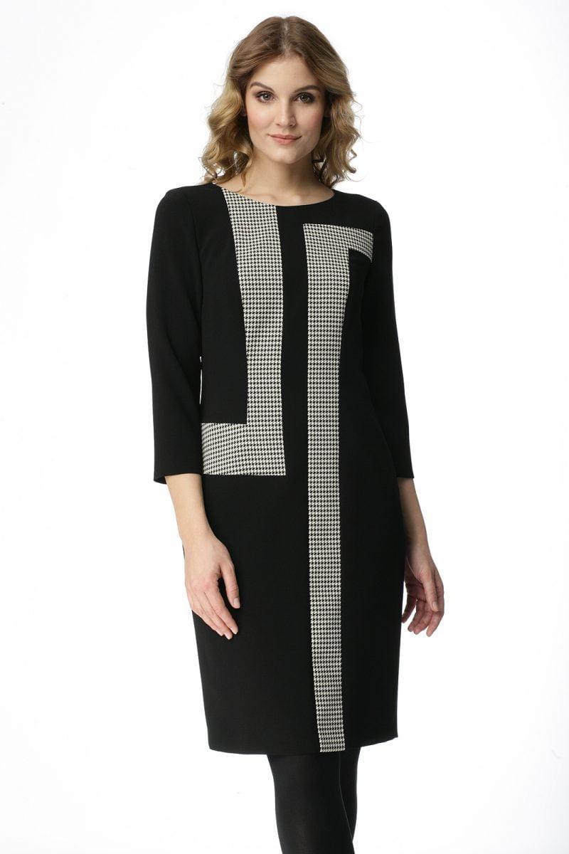 Czarna sukienka łączona z pepitką Ewelina