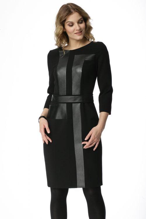 Czarna sukienka łączona ze skórą Ewelina