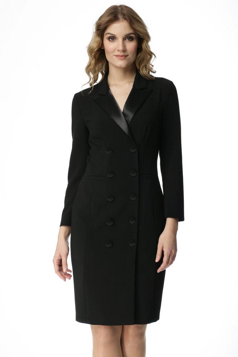 Czarna sukienka z satynowym kołnierzem Elwira