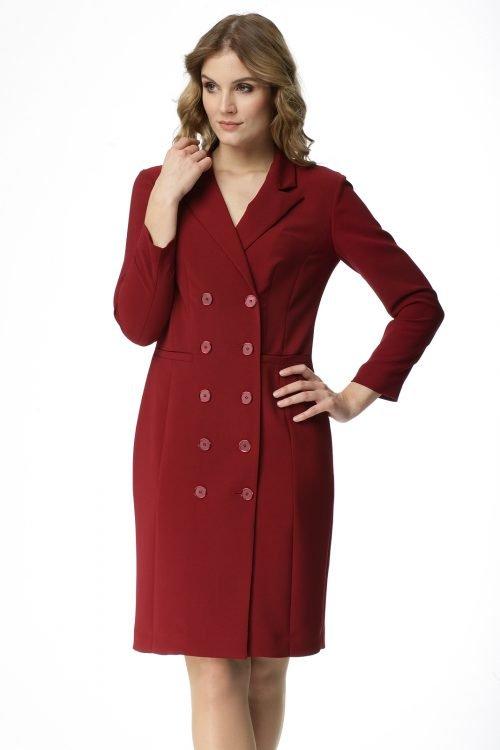 Dwurzędowa sukienka w kolorze burgundowym Elwira