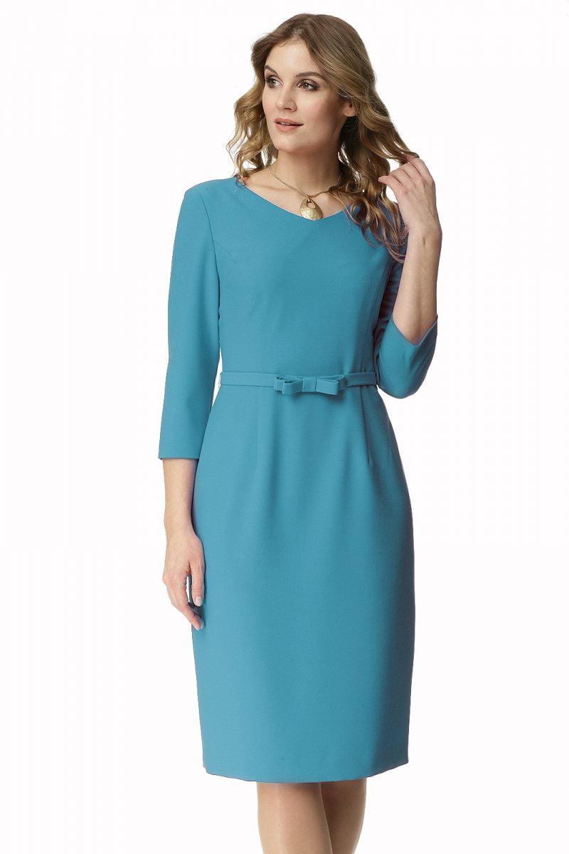 Klasyczna sukienka z paskiem w kolorze turkusowym Jadwiga
