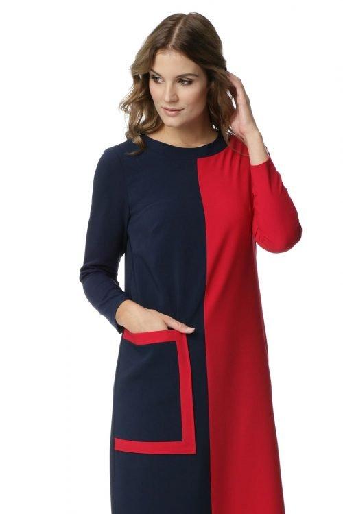 Granatowo-czerwona sukienka z kieszenią Ismena