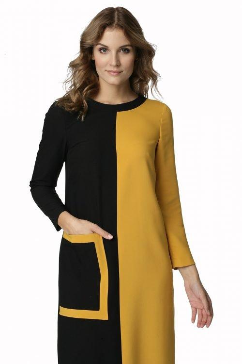 Czarno-żółta sukienka z kieszenią Ismena