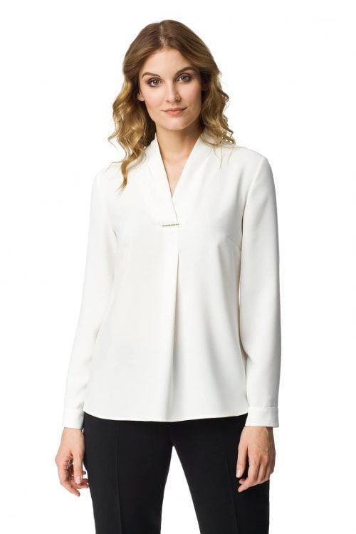 Biała bluzka z dekoltem w serek Honorata