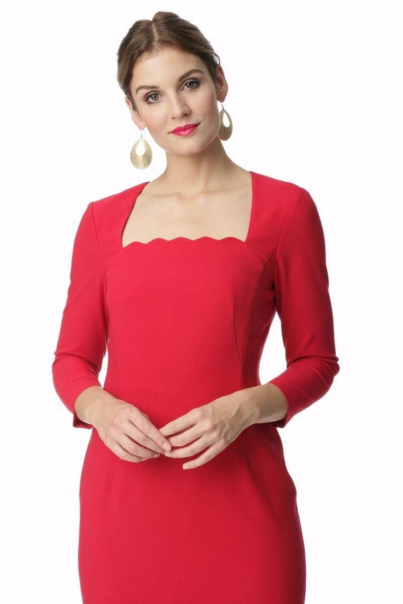 Sukienka z oryginalnym dekoltem w kolorze czerwonym Sonia