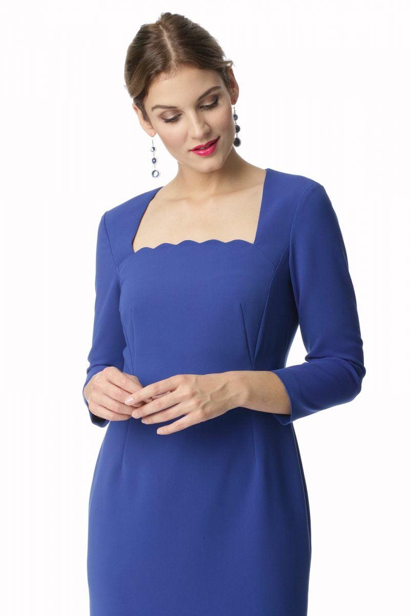 Sukienka z oryginalnym dekoltem w kolorze kobaltowym Sonia