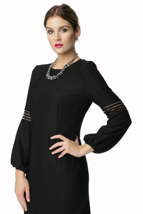 Czarna sukienka z przezroczystymi elementami Gloria