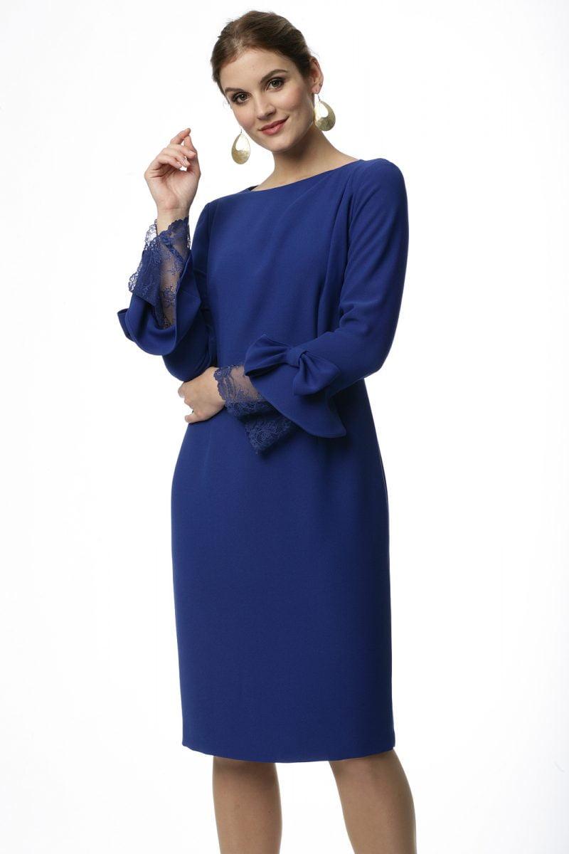 Sukienka z rękawem wykończonym koronką i kokardą w kolorze kobaltowym Ingrid