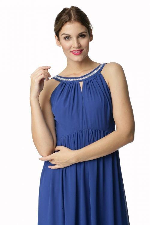 Długa kobaltowa sukienka z ozdobną taśmą Lukrecja