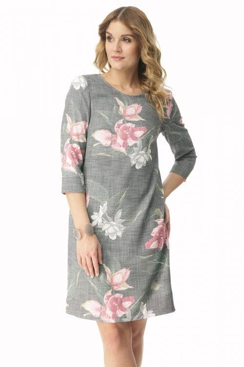 Klasyczna sukienka w kwiaty Sandra
