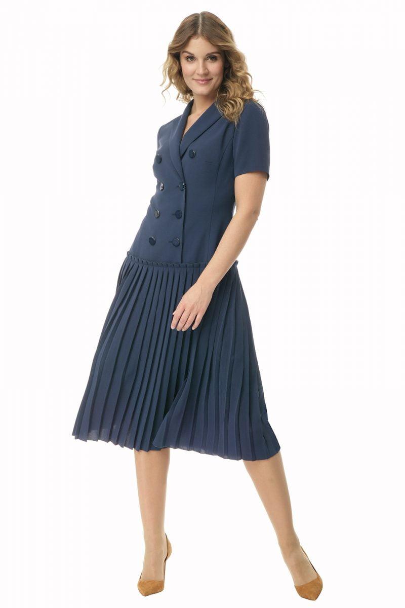 Granatowa sukienka z plisowaniem o długości midi Halina