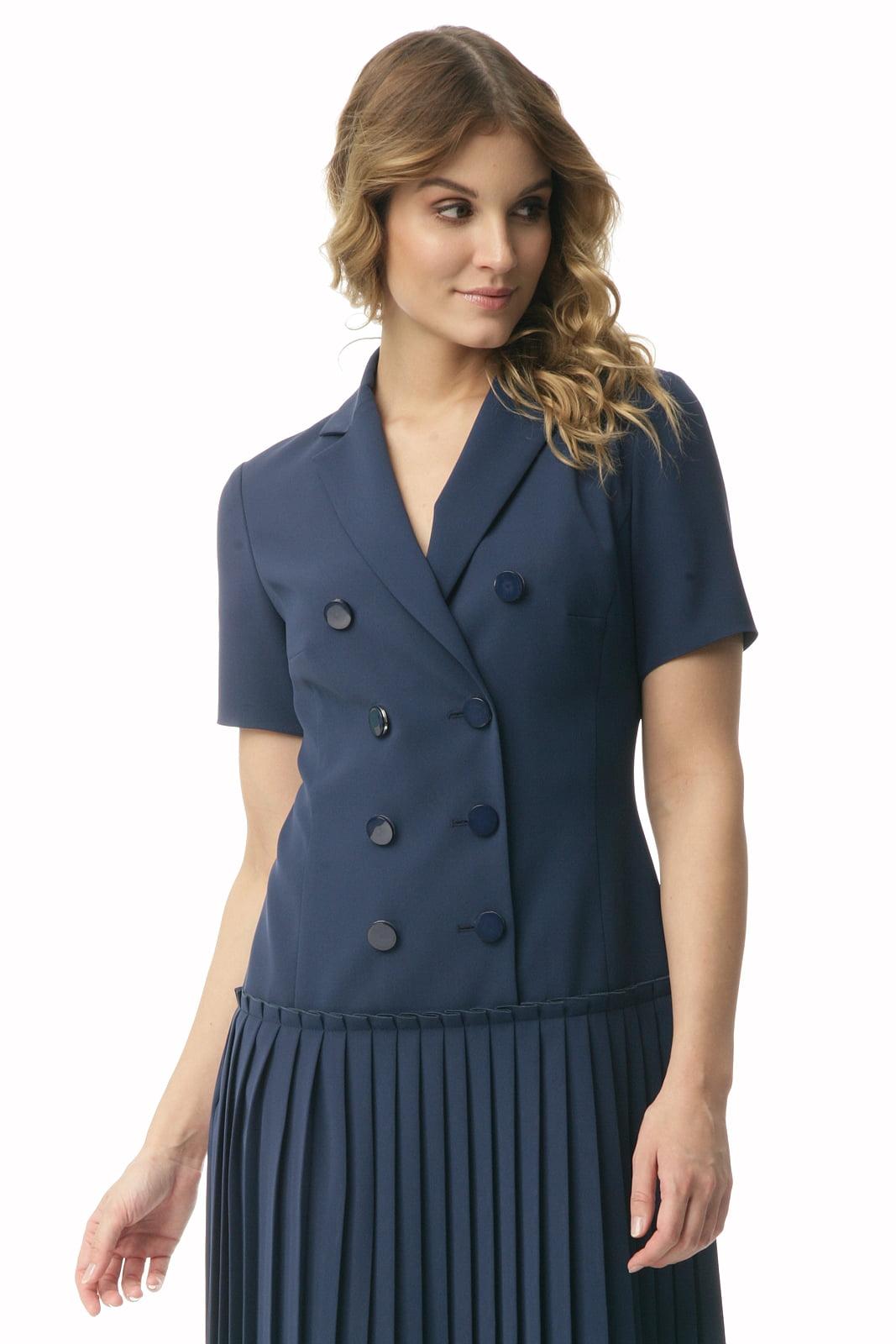 e7e641ebe4 Krótka granatowa sukienka z plisowaniem Halina - Modesta - ponad 30 ...
