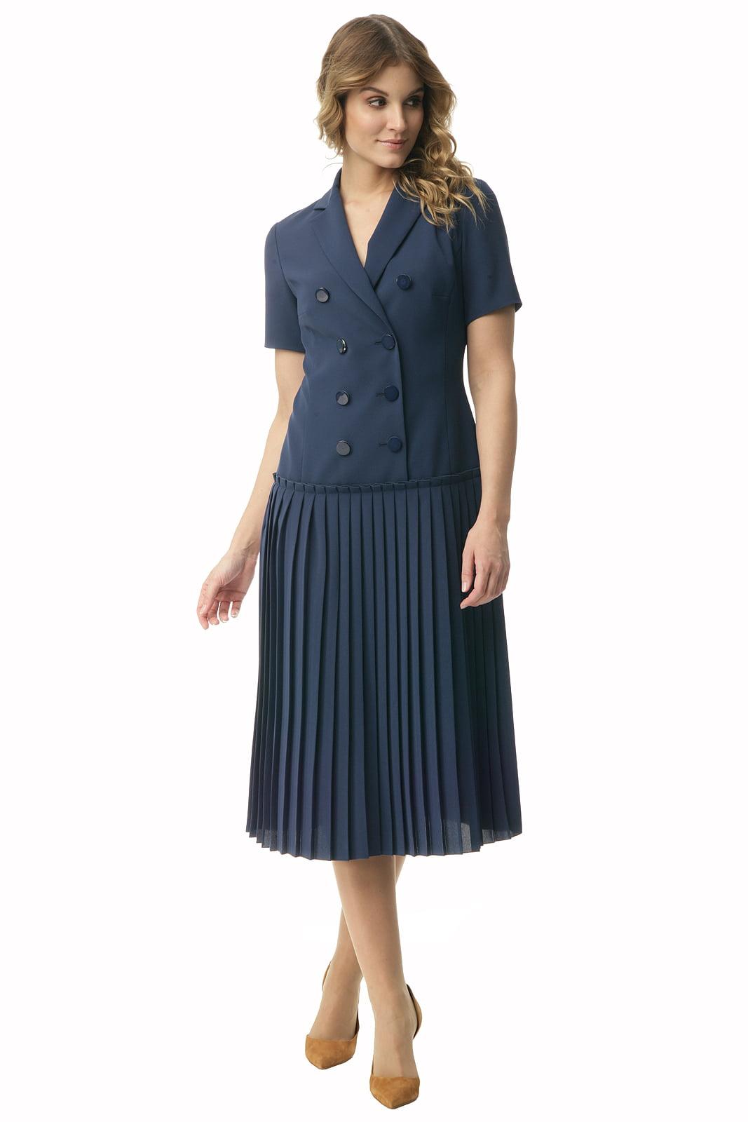 6319a347a5 Granatowa sukienka z plisowaniem o długości midi Halina - Modesta ...