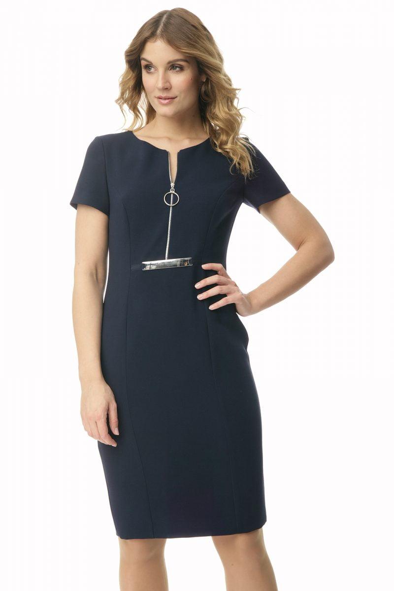 Granatowa sukienka z zamkiem Nela