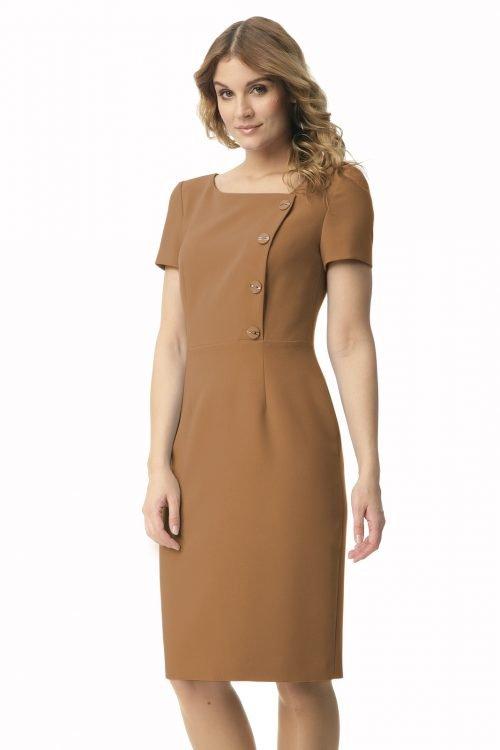 Sukienka z guzikami w kolorze karmelowym Megi