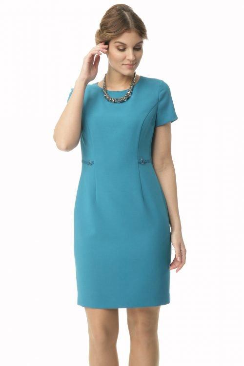 Klasyczna sukienka w kolorze turkusowym Lucyna