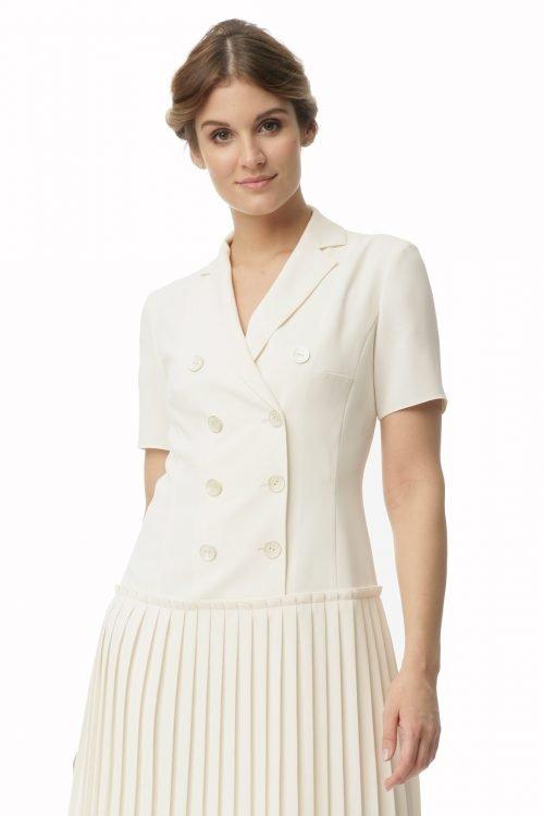 Kremowa sukienka z plisowaniem o długości midi Halina