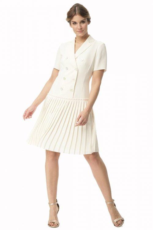 Krótka kremowa sukienka z plisowaniem Halina