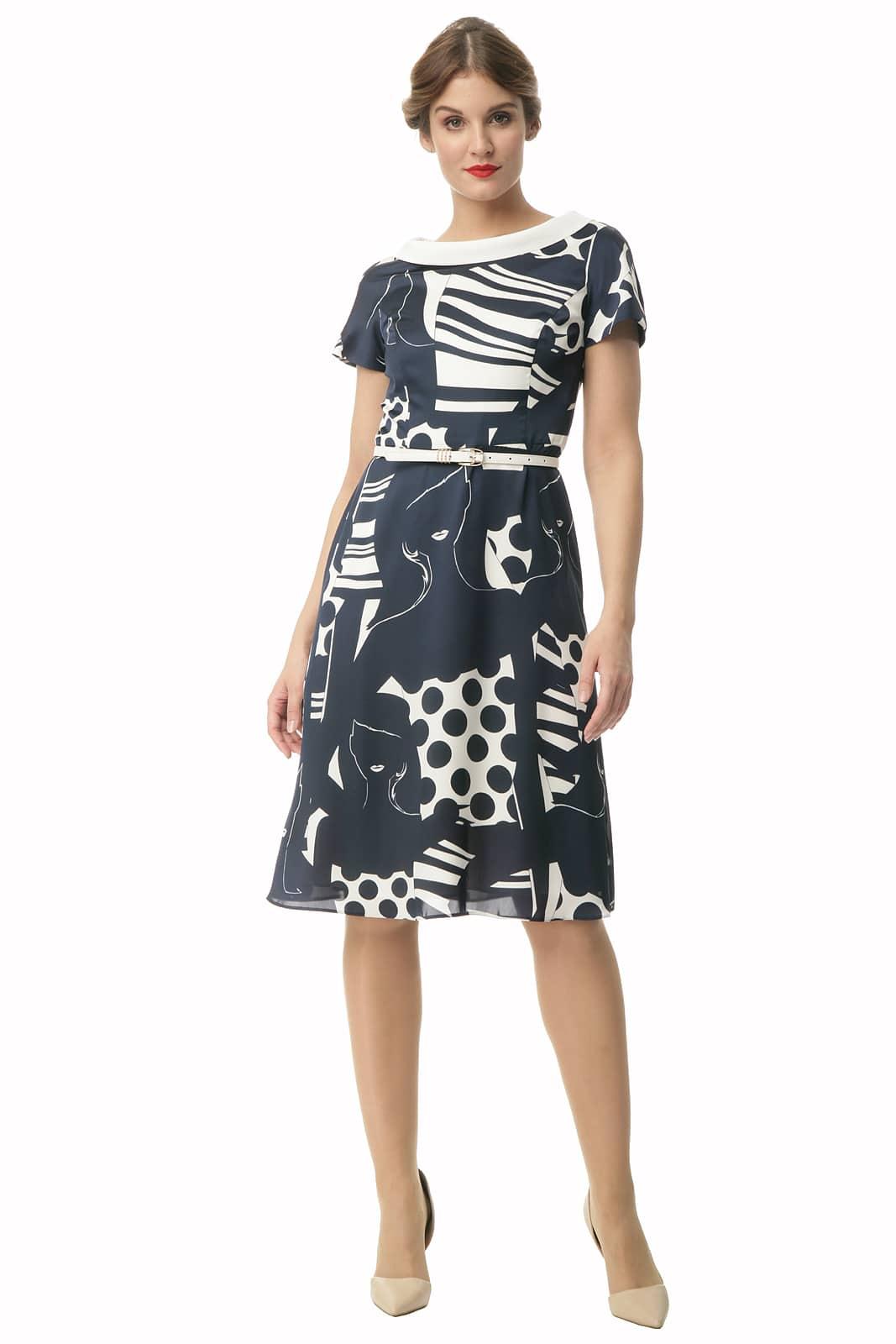 dc193f5ba8 Sukienka z białym golfikiem Grażyna - Modesta - ponad 30 lat na rynku