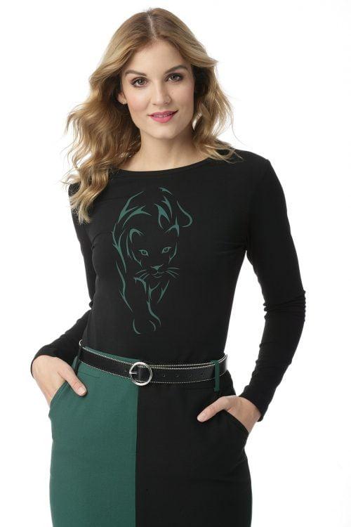 Dzianinowa bluzka z wzorem pantery Sabina