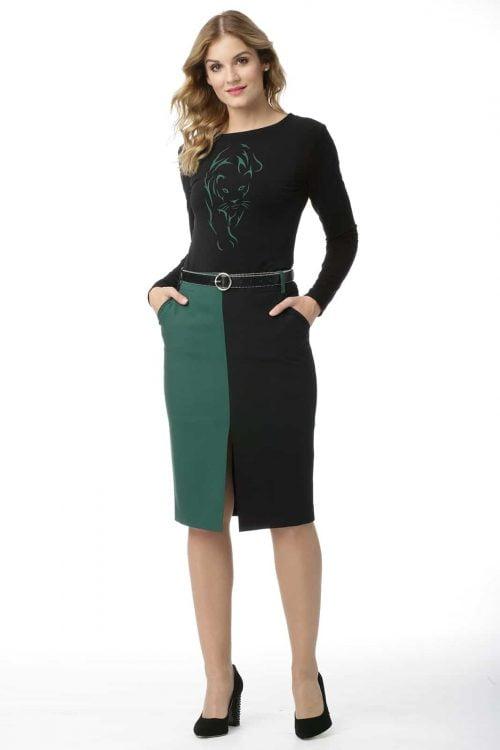 Spódnica zielono-czarna Dominika
