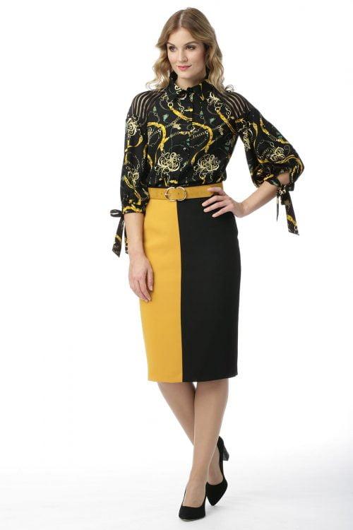 Spódnica żółto-czarna Dominika