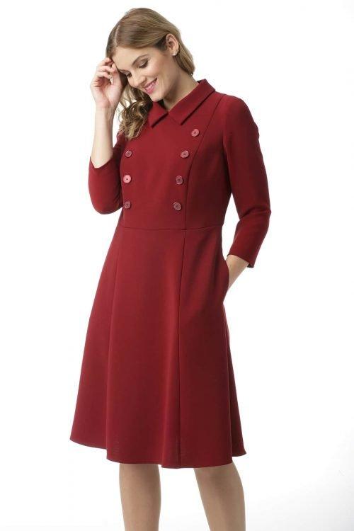 Sukienka z kołnierzykiem w kolorze burgundu Greta
