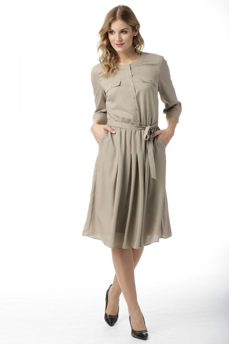 Sukienka z zakładkami w kolorze beżowym Rebeka