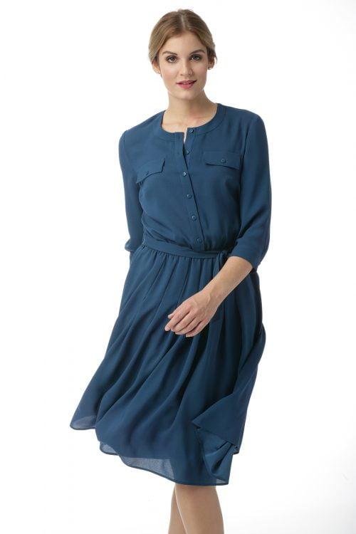 Sukienka z zakładkami w kolorze turkusowym Rebeka