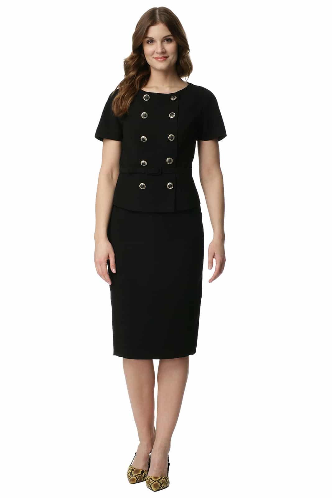 0f6b6da3c19ad6 Komplet z prostą spódnicą w kolorze czarnym Magda - Modesta - ponad ...